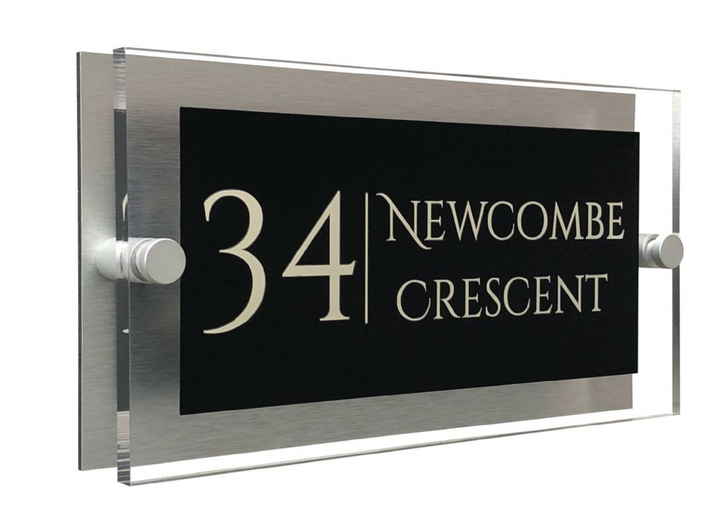 Rectangle Shape - Clear Acrylic House Sign - Black Colour with Double Cream text in Font  1